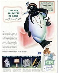 Kool, introduced in the 1930s by Brown & Williamson Tobacco Co., was one of the early menthol brands, and until the 1950s the most popular. This 1937 ad was one of many that promoted Kool as soothing to the throat. (Cigarette ads courtesy of the Stanford University collection)