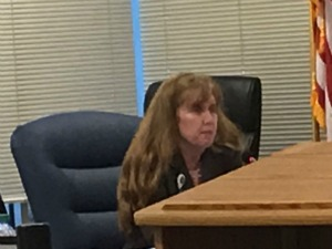 Broward Health general counsel Lynn Barrett at last weeks' board meeting