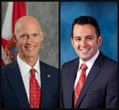 Gov. Rick Scott, left, and suspended Broward Health board chairman David Di Pietro