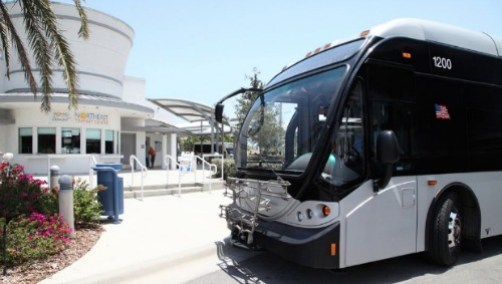 A Broward County Transit bus at the new Northeast Transit Center at North Dixie Highway and Martin Luther King Boulevard in Pompano Beach
