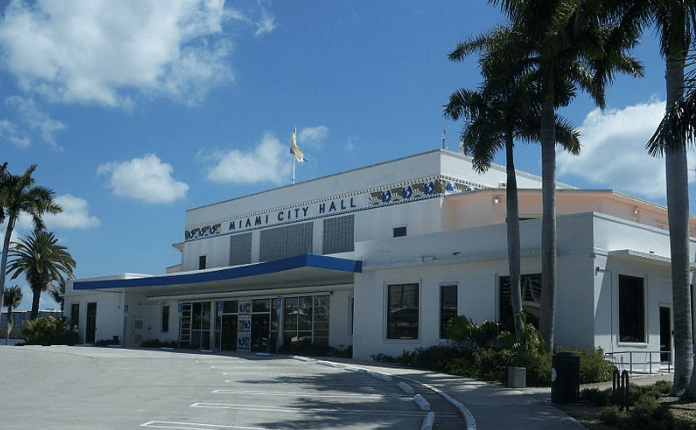 Blue sky above the front entrance of Miami City Hall