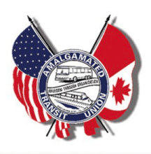 Amalgamated Transit Union logo with American and Canadian flags around a central circle with a bus and a train