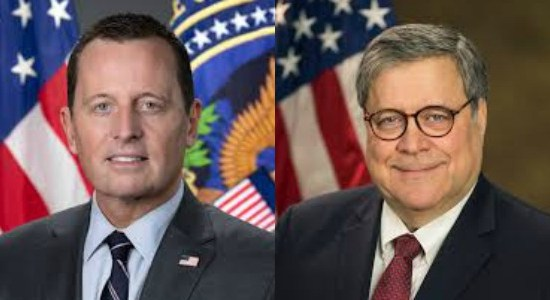 headshots in front of U.S. flags of Attorney General William Barr and Director of National Intelligence Richard Grenell
