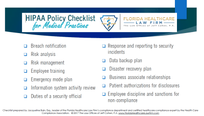 HIPAA Policy Checklist 2017 NEW FORMAT