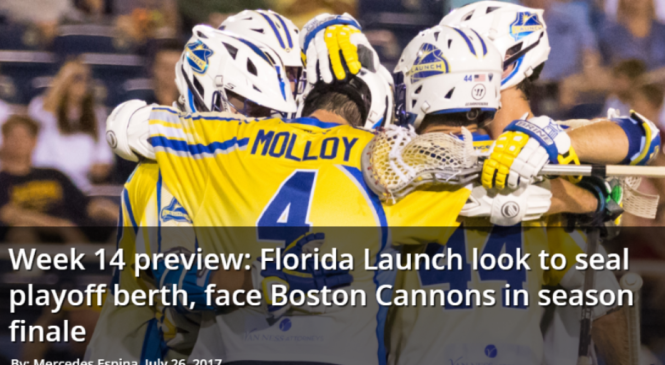 Week 14 Preview: Florida Launch Look to Seal Playoff Berth, Face Boston Cannons in Season Finale