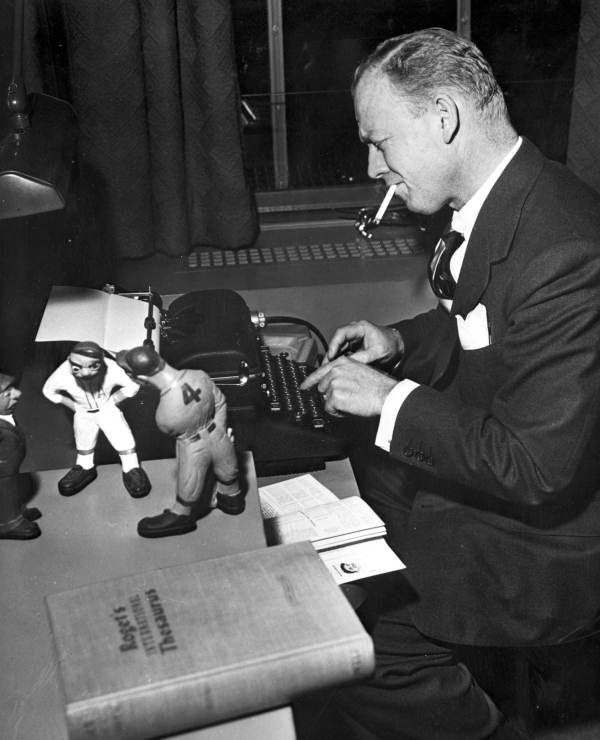 Sportswriter Red Barber at his typewriter - Florida State Archives photo