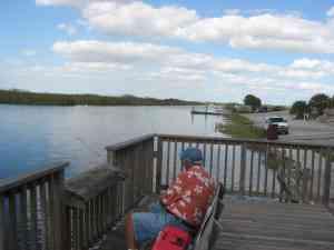 Fishing dock is near the boat ramp