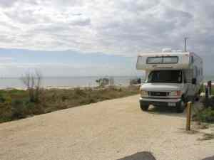 Beachfront campsite at Curry Hammock State Park
