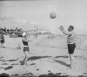 Babe Ruth and his wife playing on beach