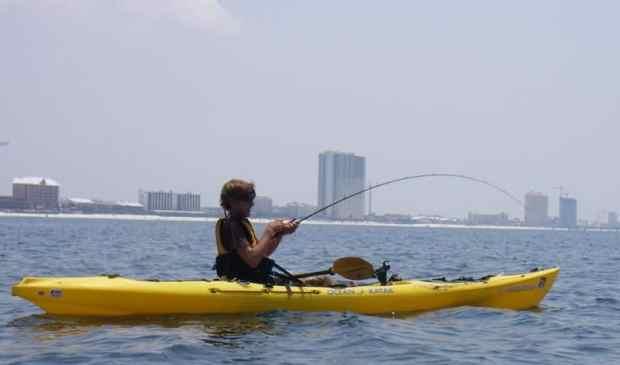 Kayak fishing off Bonita Beach