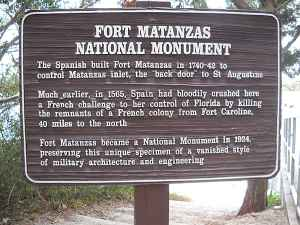 Sign at Fort Matanzas near St. Augustine