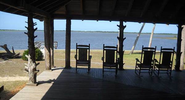 Rocking chairs on porch of Princess Place lodge, Palm Coast, Florida