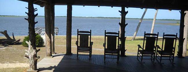 Rocking chairs on the porch of the lodge, which has a magnificent view and ocean breeze even on hot days.