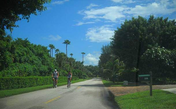 Jupiter Island two lane road makes a good bike route.