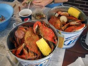 Bucket of blue crabs at Peace River Seafood in Punta Gorda