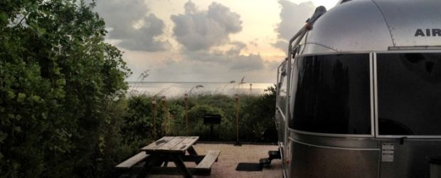 Oceanfront campsite at dusk. (Photo by Laura Dometa