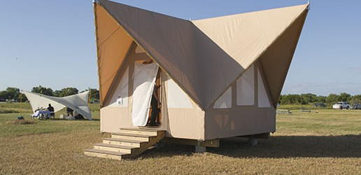 The prototype Flamingo eco-tent