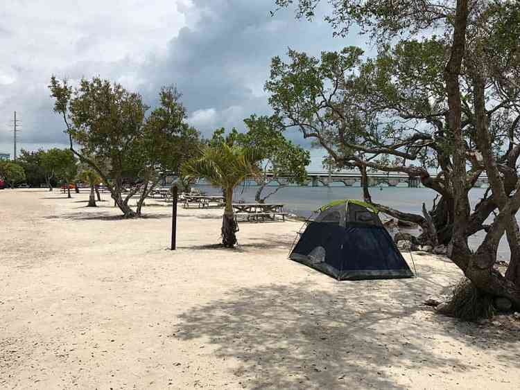 Waterfront tent sites at Big Pine Key Fishing Lodge