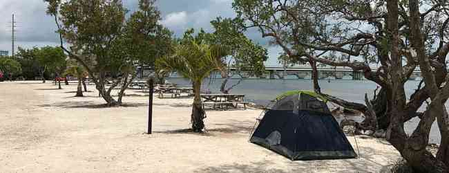 Waterfront tent sites in the primitive campground at Big Pine Key Fishing Lodge