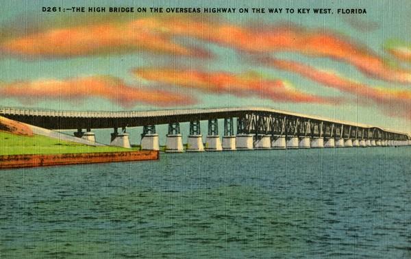 A postcard of the Bahia Honda Bridge prior to 1935. Photo via Florida Memory Project.