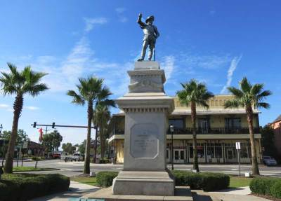 St. Augustine's waterfront is dominated by a status of Ponce de Leon,