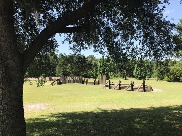 Camp Milton recreates what structures might have looked like during the Civil War.
