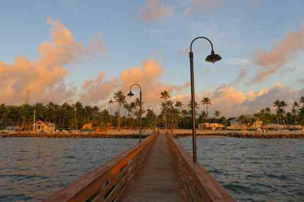 Dawn at the pier at the Islander Resort, a classic Islamorada hotel.
