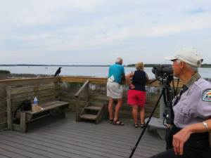 Birding experts help visitors see and identify birds at a platform on Upper Myakka Lake.