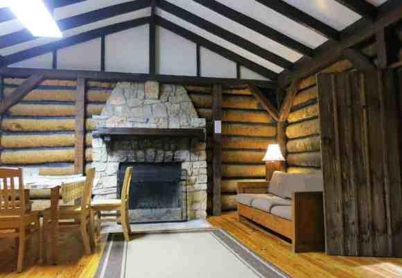 Interior of log cabin at Myakka River State Park.