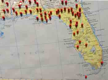 A map at the Civilian Conservation Corps Museum at Highland Hammocks State Park shows the sites of CCC projects in Florida, which included a number of projects outside the state park system.