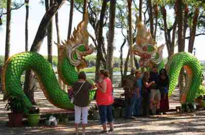 Decorative dragon on the grounds of the Buddhist Temple, Wat Mongkolratanaram or Wat Tampa.