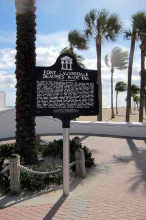 fort lauderdale beach wade--ins commemorative marker
