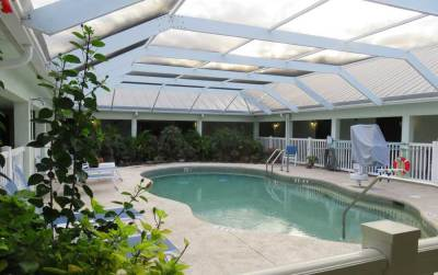 Pool area at Ivey House Bed and Breakfast in Everglades City (Photo: Bonnie Gross)
