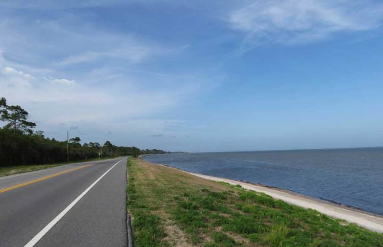 The most scenic section of the Big Bend Coastal Byway is the 40-mile stretch between Bald Point State Park and Apalachicola where the road hugs the coastline. (Photo: Bonnie Gross)