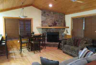 Interior of Lafayette Blue Springs State Park cabins: Electric fireplace, plenty of room. (Photo: Bonnie Gross)