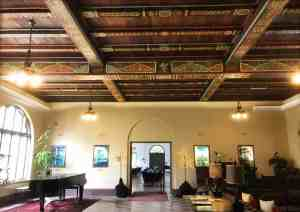 The most special feature at the Wakulla Springs Lodge inside the state park is the spectacular painted beamed ceiling, recently restored, in its huge lobby. (Photo: Bonnie Gross)