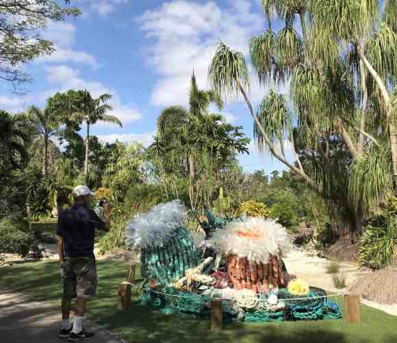 Marine Debris Anemone is made of water bottles and other beverage bottle garbage. It's on exhibit at Mounts Botanical Gardens.. (Photo: Bonnie Gross