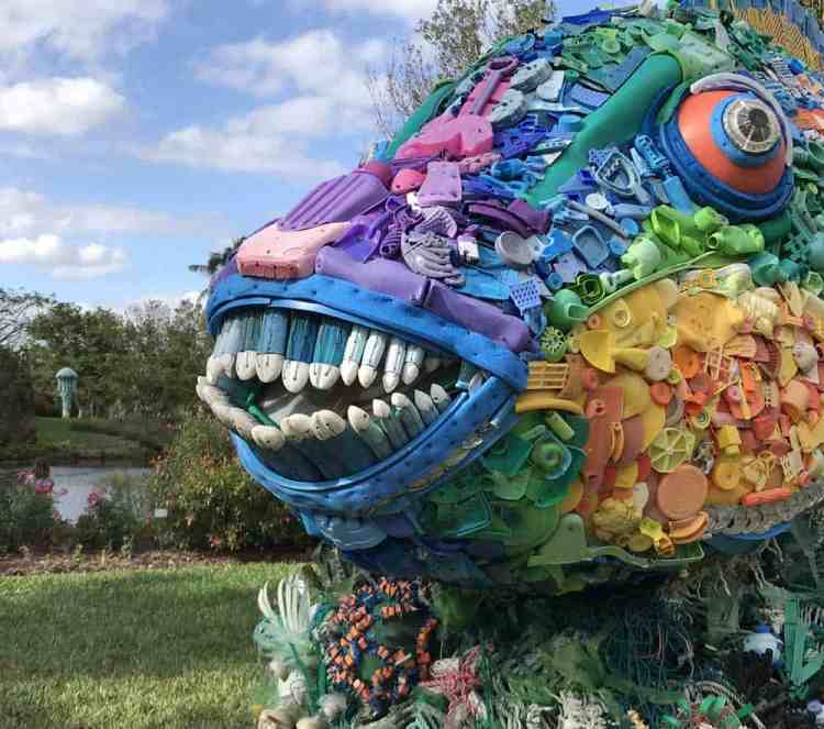 Priscilla the Parrot Fish is made out of plastic toys, buoys, toothbrushes and other plastic garbage picked up on beaches.the sculpture if one of 10 on exhibit at Mounts Botanical Garden until June 3, 2018. (Photo: Bonnie Gross)
