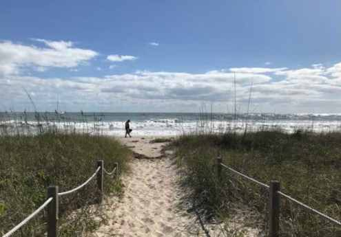 Walking on a quiet beach at Avalon State Park near Fort Pierce