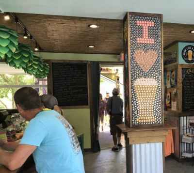 Mosaic made of bottle caps inside tasting room at Florida Keys Beer Company. (Photo: Bonnie Gross)