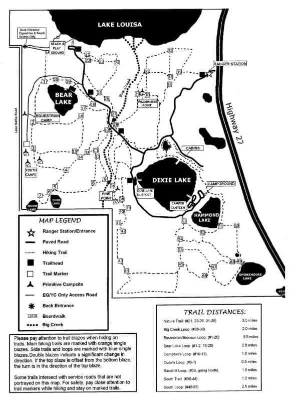Map of Lake Louisa hiking trails.
