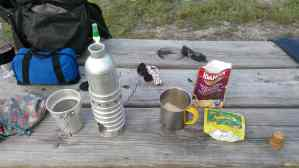 Preparing breakfast while primitive camping at Colt Creek State Park.
