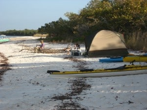 Our campsite on the beach at Panther Key