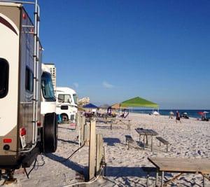 Beachfront sites at Camp Gulf