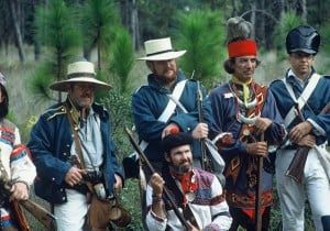 Florida history: Re-enactors at Dade Battlefield Park, Bushnell, Florida