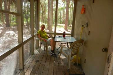 Screen porch in cabin at Hontoon Island State Park
