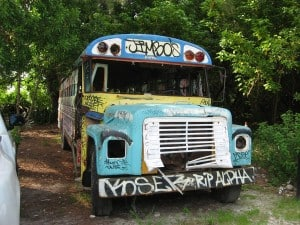 Jimbo's school bus offers shelter when it rains.
