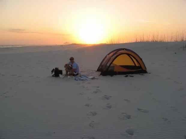 Beach camping at Gulf Islands National Seashore