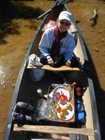 Mud Lake: picnic in the canoe