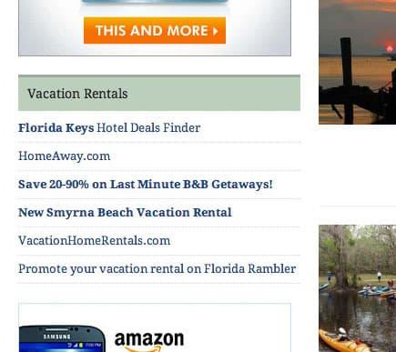 Screenshot of vacation rental ad